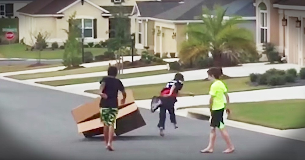 Boys Hilariously Try To Catch A Runaway Box