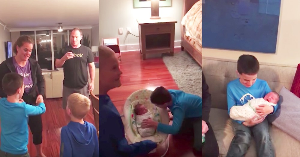 Brothers Amazing Reactions To Surprise Adopted Baby Sibling