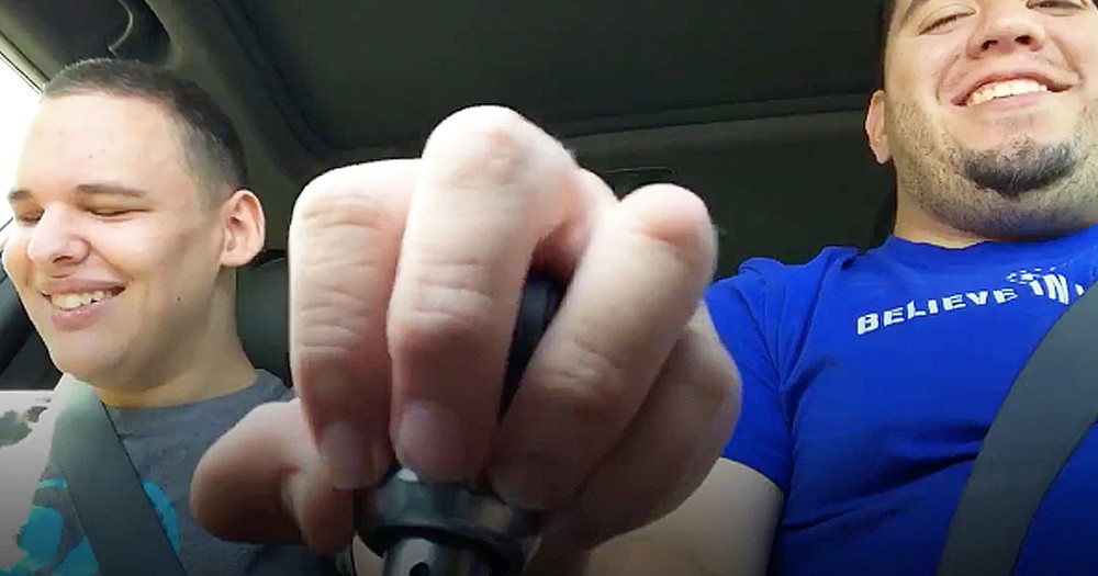 Father Shares Joyful Moment In Car With Blind Autistic Son