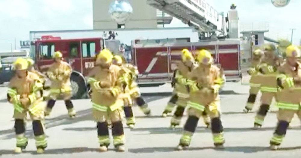 Firefighter Flash Mob Performs 'Staying Alive' For CPR Awareness