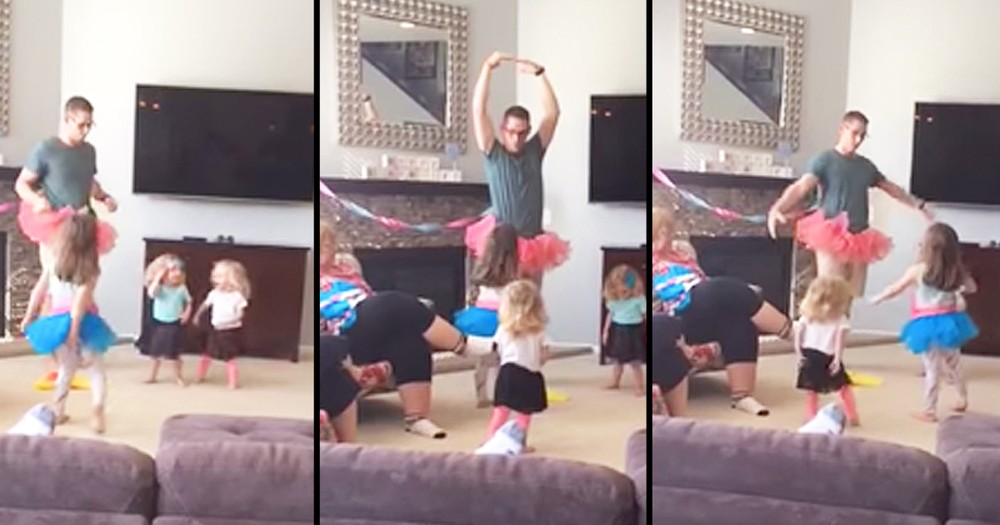 Hilarious Tutu Wearing Dad Teaches Daughters To Dance