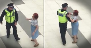 Mall Cop And Woman Waltz Around The Shopping Center