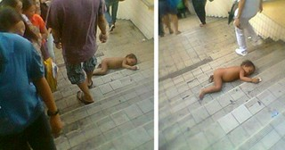 Heartbreaking Photo Of Naked Baby Curled On Busy Stairs