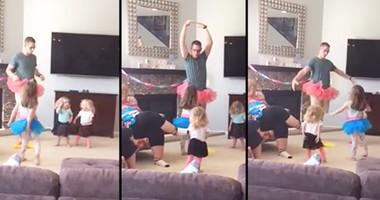 Hilarious Tutu Wearing Dad Teaches Daughters To Dance