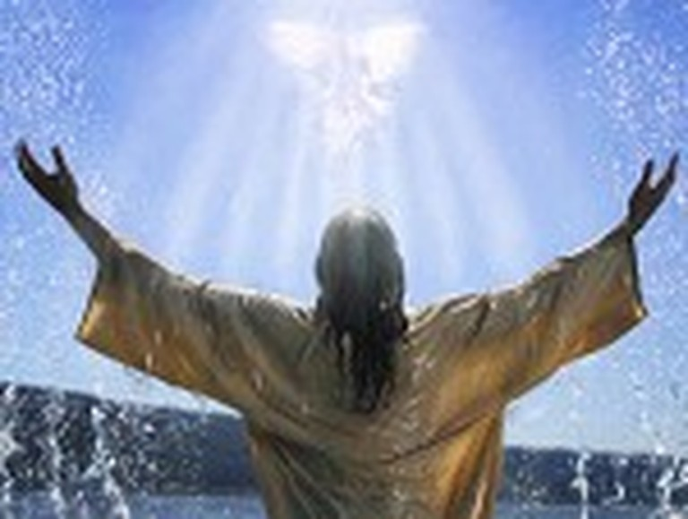 Jesus in the Water with Open Arms
