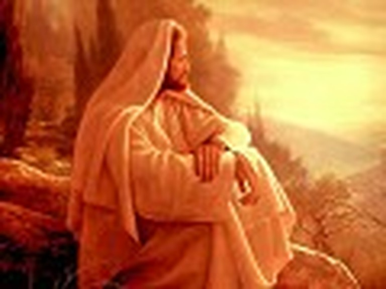 Jesus Sitting and Praying on a Hilltop