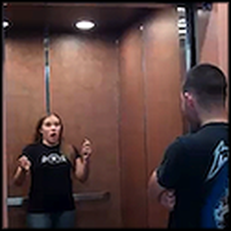 Marine Waits at the Bottom of an Elevator to Surprise his Sister