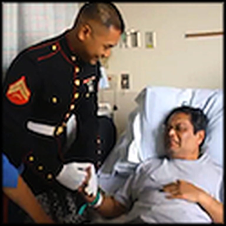 US Marine Surprises his Sick Father in the Hospital