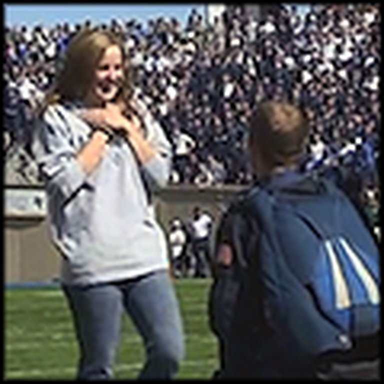 Cadet Parachutes into a Football Game to Propose to his Girlfriend
