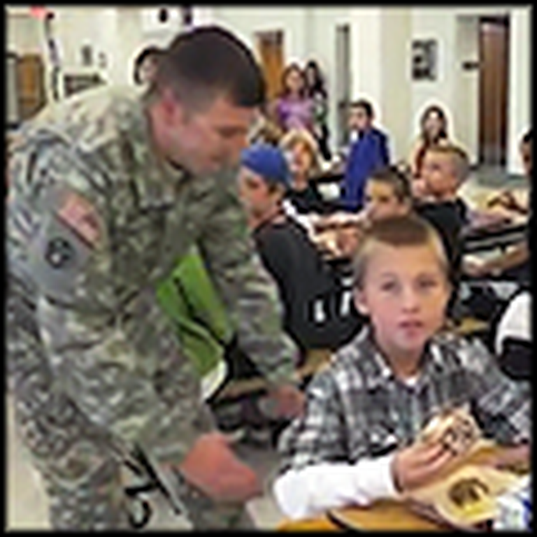 Soldier Surprises his Son in the School Cafeteria