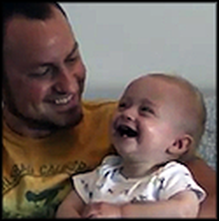 Baby Laughs Hysterically at Daddy Dropping Books