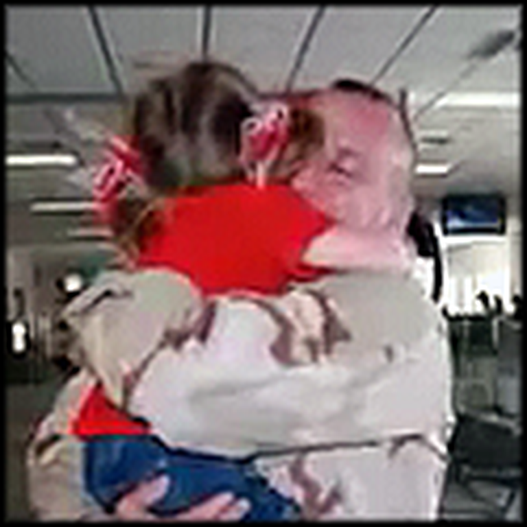 Little Girl Runs Through the Airport to Greet her Soldier Daddy