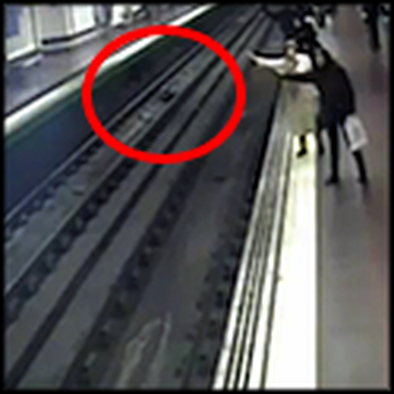Good Samaritan Saves a Man Who Falls on Train Tracks