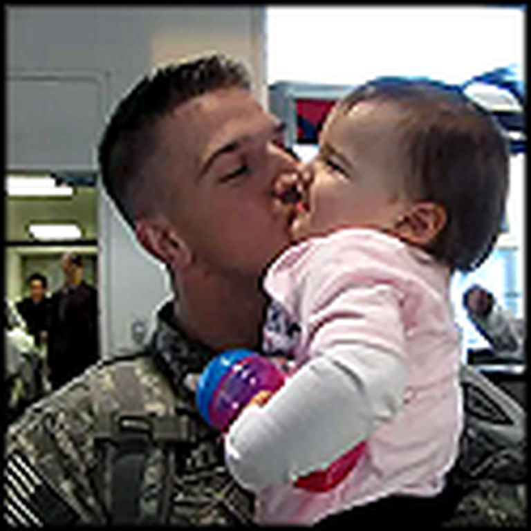 Soldier on Leave Reunites with his Cute Daughter