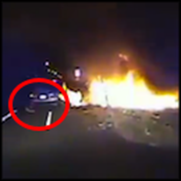 Officer Risks his Life to Save a Man From a Burning Vehicle