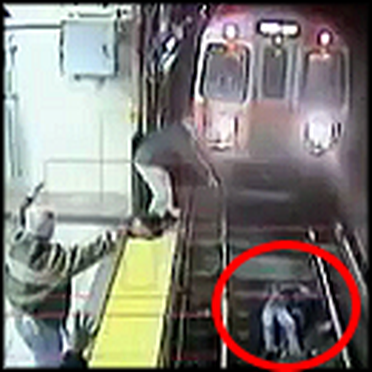 Heroic Civilians Save a Mentally Unstable Woman From Being Crushed by a Train