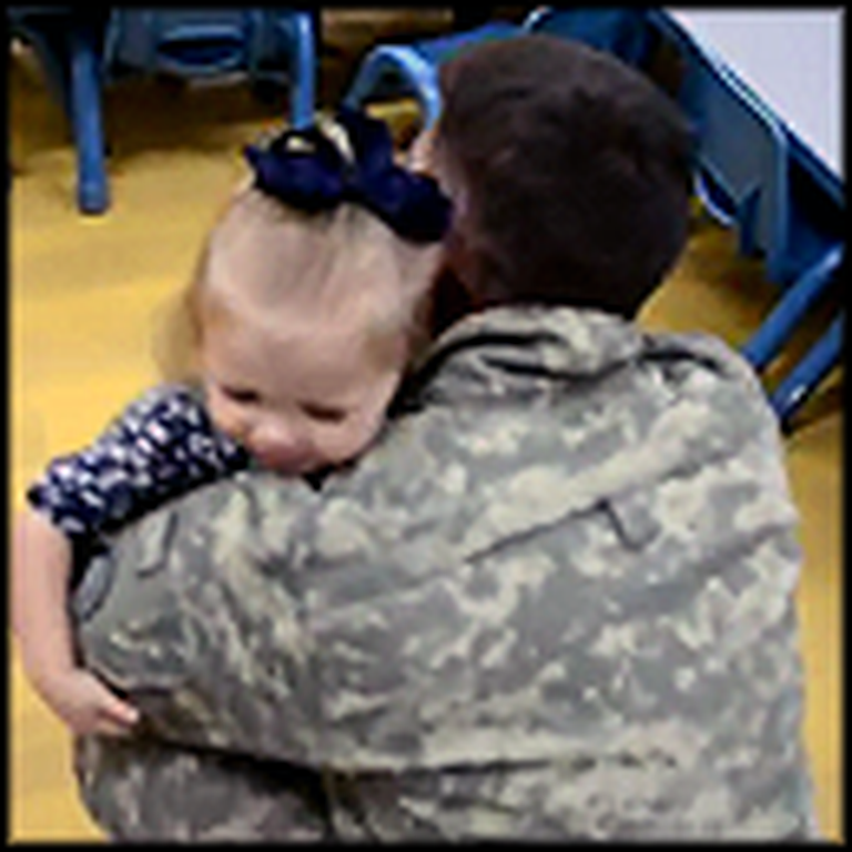 Little Girl's Reaction to Daddy Coming Home Will Melt Your Heart