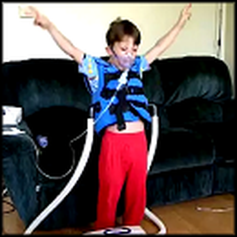 Boy Hooked Up to Breathing Tubes Dances his Heart Out