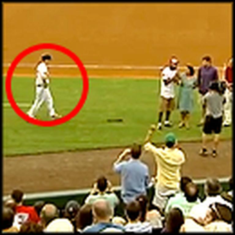 Sneaky Airman Surprises his Mom at a Baseball Game