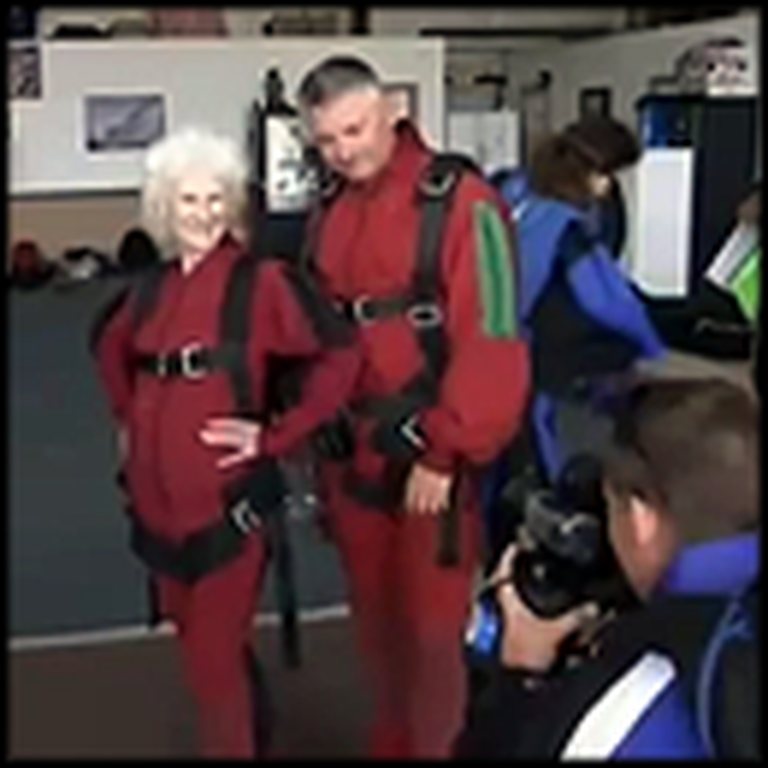 Inspiring 80 Year Old Minister Sky Dives with her Son