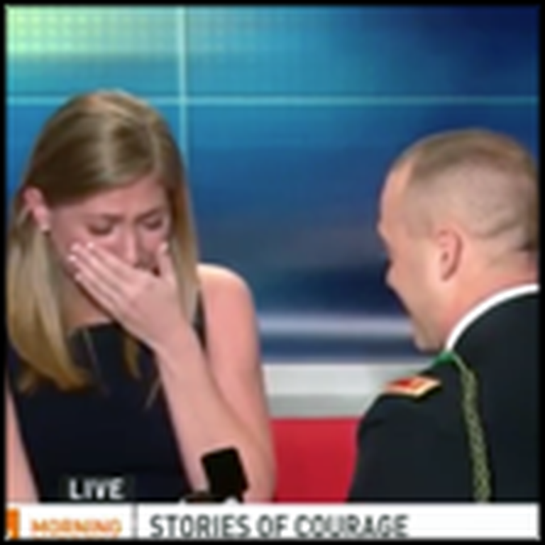 Soldier Gives His Girlfriend the BEST Surprise on Live TV