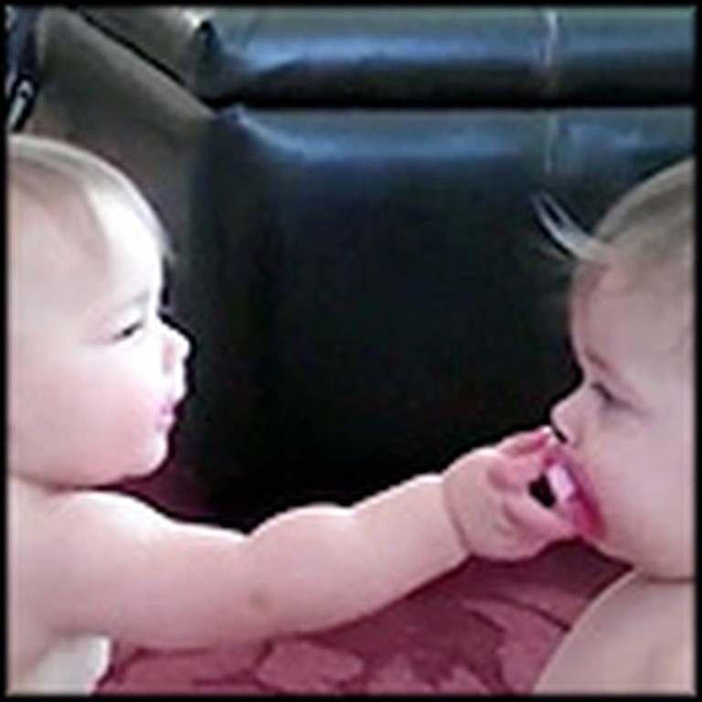 Sweet Twin Sisters Fight Over a Pacifier
