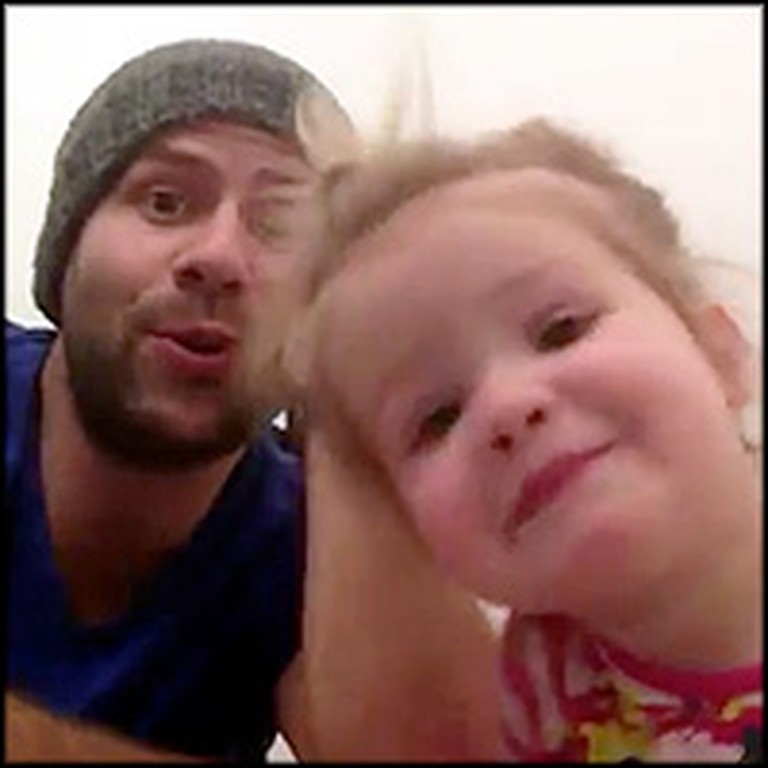 Adorable Dad and Daughter Sing a Silly Song Together