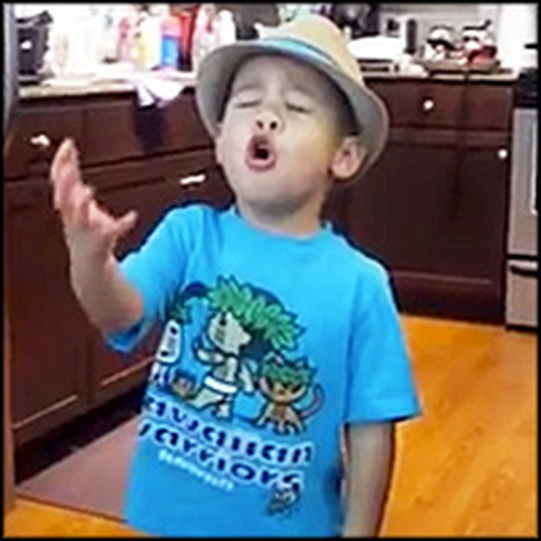 Unbelievably Adorable 4 Year-Old Sings His Heart Out