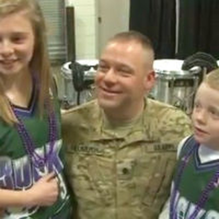 Solider Reunited With Children at NBA Game Will Make You Smile!