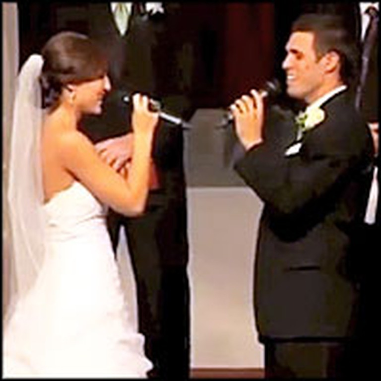 Bride and Groom Sing the Sweetest Song to Each Other at the Altar