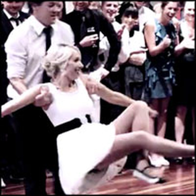 Bride and Groom Wow Guests With an Exciting Swing Dance