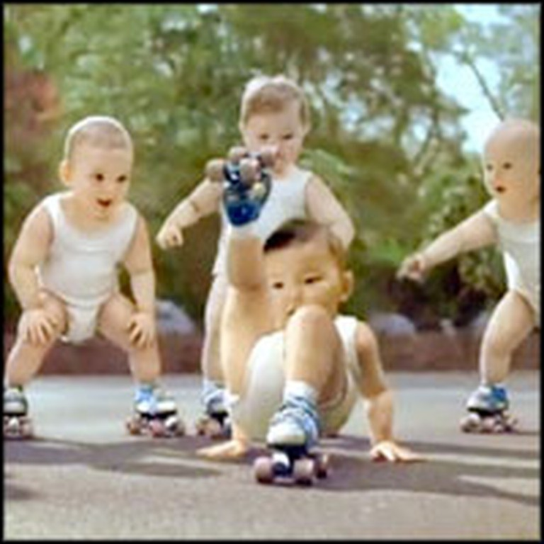 Hilarious Dancing Babies on Rollerskates