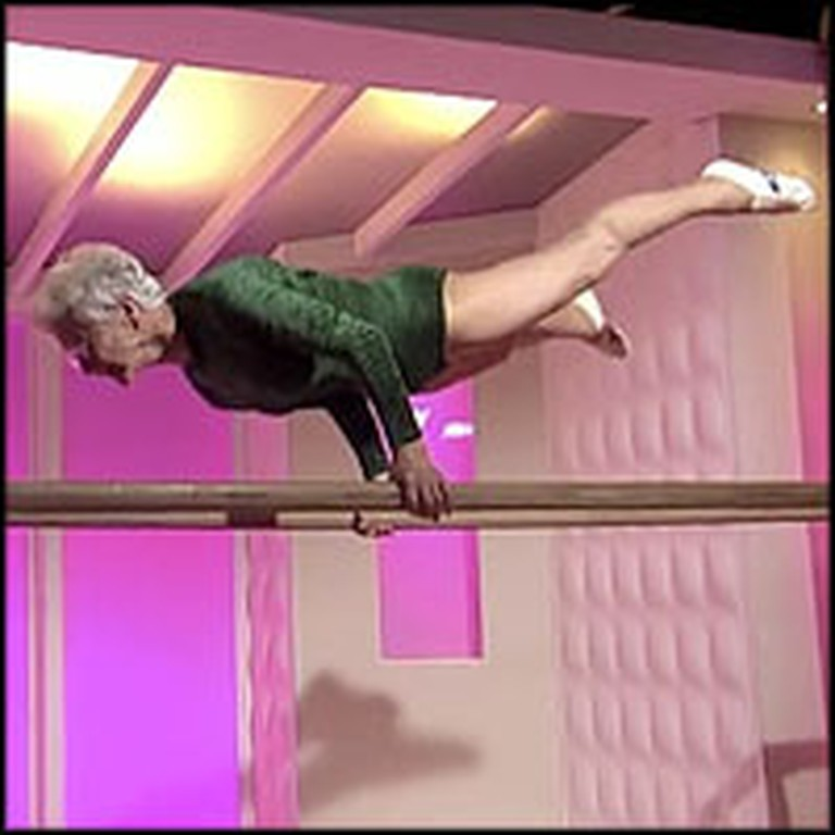 86 Year-Old Gymnast Has AMAZING Skills and Strength