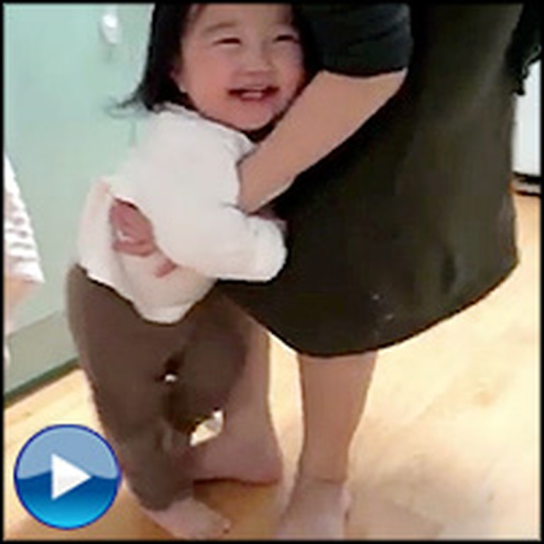 Adorable Toddler Surprises Her Daddy in a Fun Game of Chase