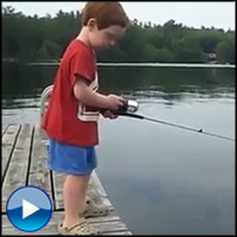 God Helps a Little Boy Catch a Fish in Record Time