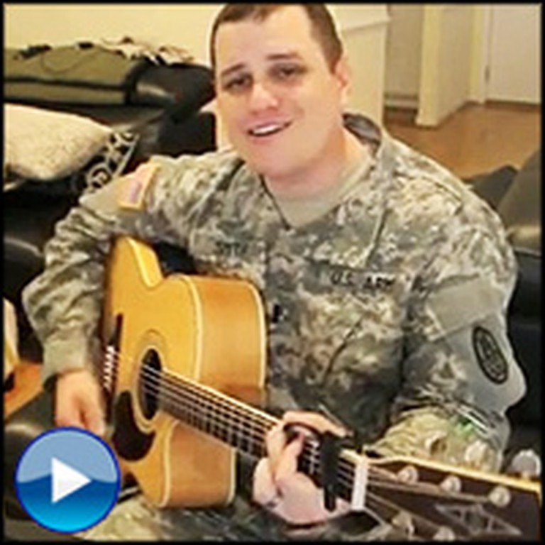 Deployed Soldier Sings a Love Song for His Girl Back Home