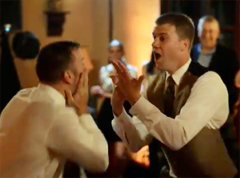 Groom and His Best Friend Give Wedding Guests a HUGE Surprise - Too Funny!