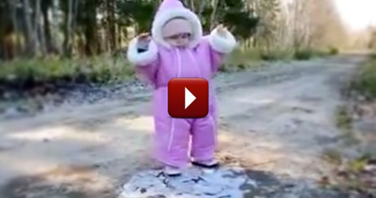 When an Adorable Toddler Sees Ice for the First Time, The Funniest Thing Happens