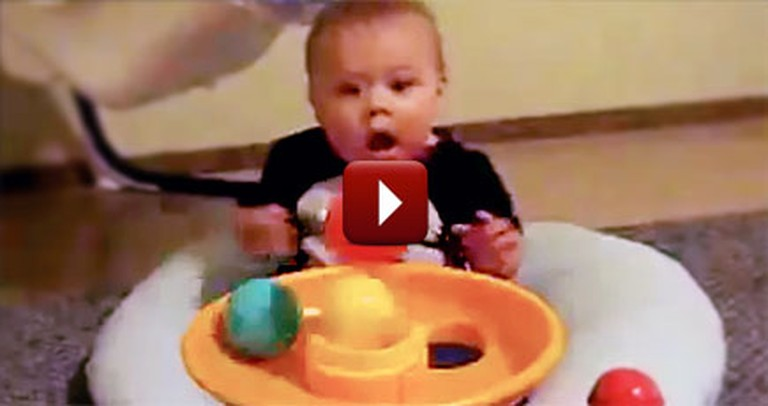 Funny Baby Gets So Excited Over Toy Ball Machine