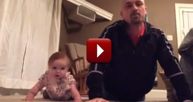 Adorable Baby and Awesome Dad Share their Hilarious Workout Routine--So Cute!