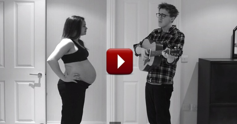 Adorable Dad Sings in Cutest Pregnancy Timelapse Video