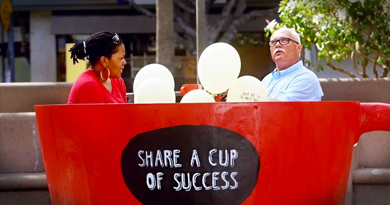 These Random Strangers Are Sitting In A Giant Teacup. And When You See Why You'll LOVE It!