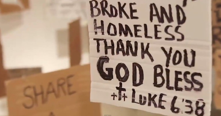 This Man Took Signs From The Homeless. And What He Did With Them SHOCKED People.
