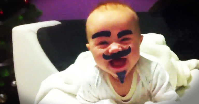 Funny Dad Gives His Baby A Makeover