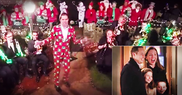 Christmas Flashmob Surprises Family On Their Front Yard