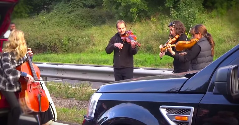 String Quartet Puts The 'Jam' In Traffic Jam