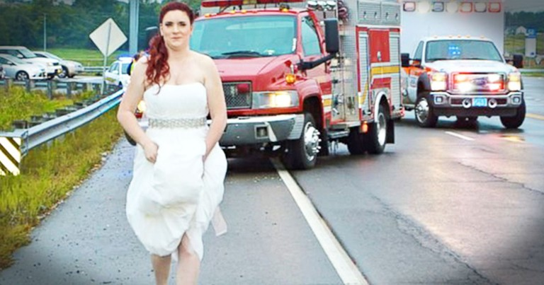 Paramedic Bride Responds To Car Crash In Her Wedding Dress