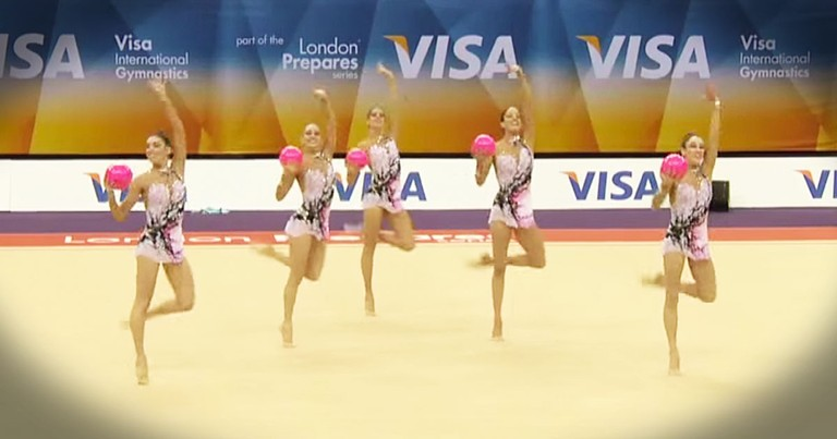 5 Gymnasts Each Held A Pink Ball What Happened Next - WHOA