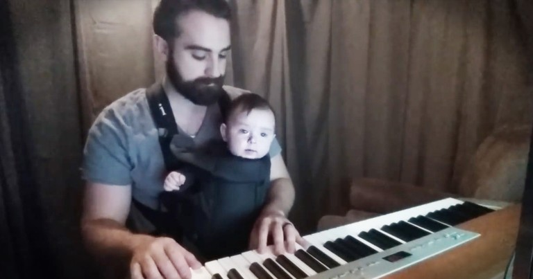 Sleepy Baby Is No Match For This Dad's Trick
