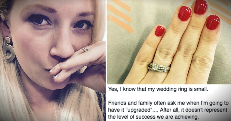 Wife Responds To Those Who Say Her Wedding Ring Is Too Small